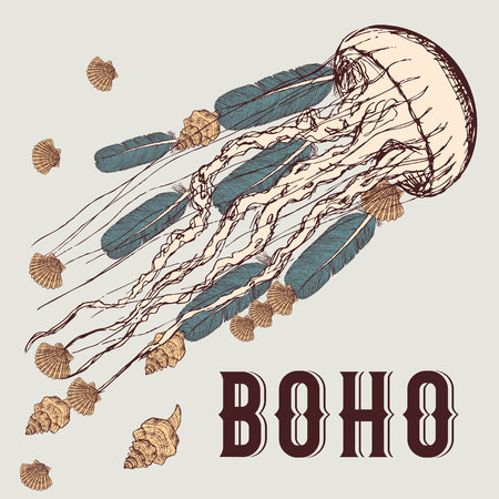 indian fish: Boho background with jellyfish, feathers and shells in vintage style, vector Illustration