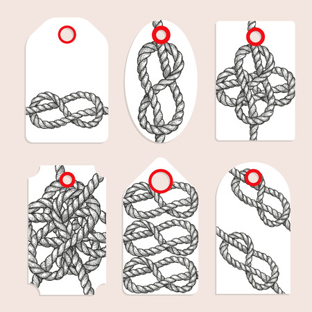 eight: Vintage tags with eternity eight knot