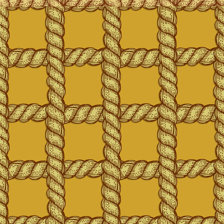 spiral cord: Engraved rope in vintage style, seamless pattern Illustration