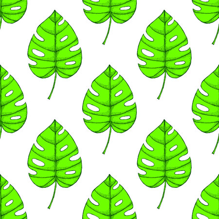 frond: Engraved palm leaf in vintage style, seamless pattern