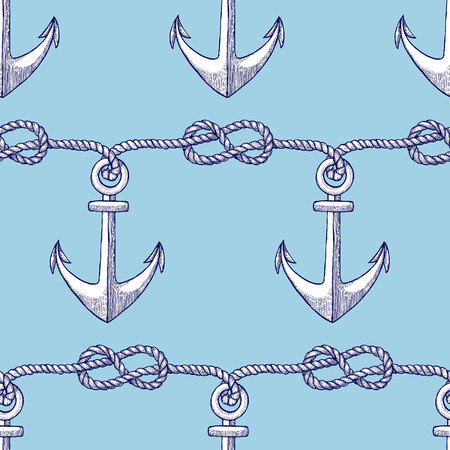 eternity: Engraved eternity eight knot and anchor, vector seamless pattern