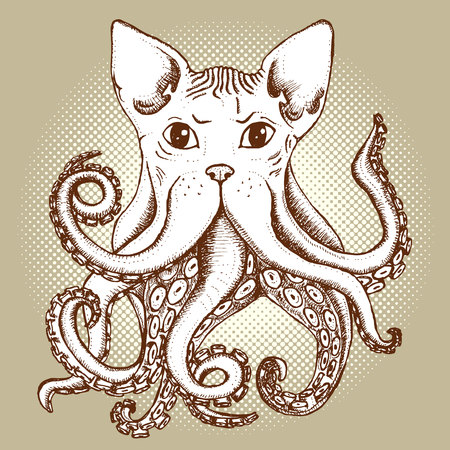 Mixed cat and octopus in vintage style, vector poster