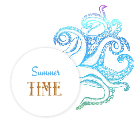 Summer time poster with octopuses tentacles in vintage style, vector