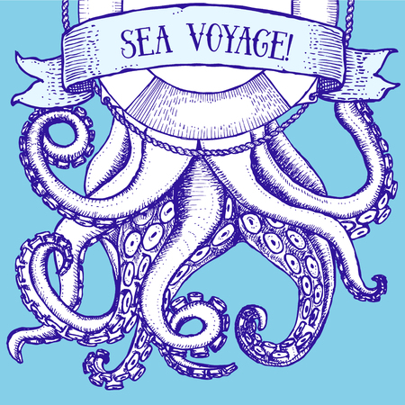 Octopus and life buoy in vintage style, vector poster