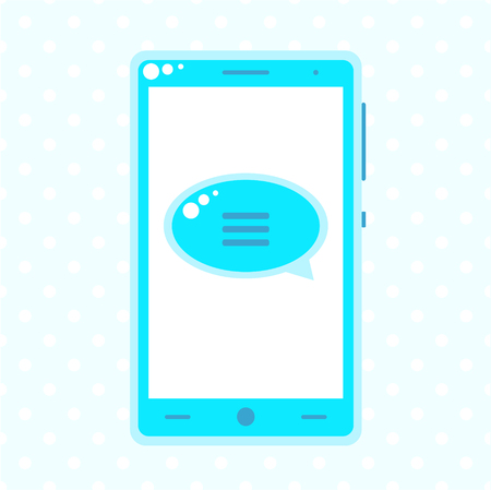 speech buble: Blue mobile phone with speech buble, template