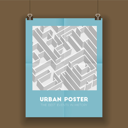 labirinth: Urban poster with labyrinth, vector template with maze