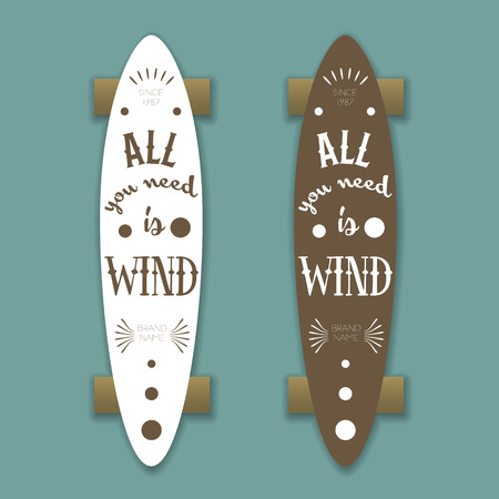 longboard: Longboard skateboard, vector template with lettering