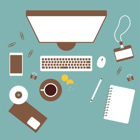 table top: Working table top view, vector office background Illustration