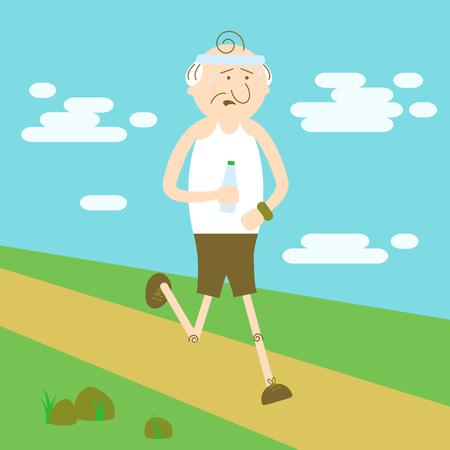 Elderly people in sports, elderly man running
