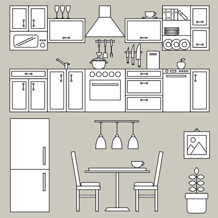refrigerator kitchen: Kitchen interior line design. Vector illustration with refrigerator, kitchen furniture, utensils, chairs, table and decor.