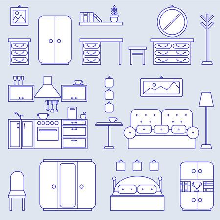 living room design: Furniture line icon design. Kitchen, bedroom, living room interior illustration.