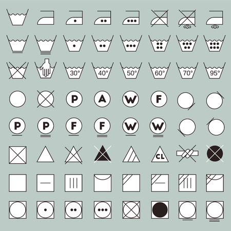 bleach: Laundry symbols line design. Washing, ironing, bleaching, drying, dry clean and tumble dry icons. Illustration