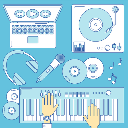 turntable: Music illustration, line design with turntable and keyboard