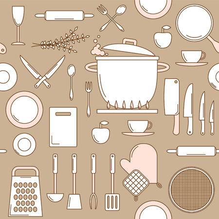 sieve: Utensils seamless pattern, line art with knifes, pot, rolling pin and cutting board Illustration
