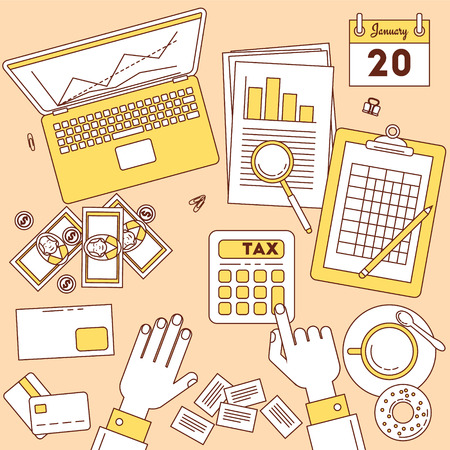 Tax calculator. Top view illustration, online and paper financial work.