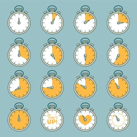 Linie Satz von Timer. Beeilen Sie sich Design, die Zeit ist um Sammlung.