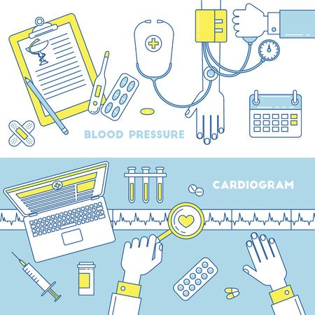 Ill design, vector line illustration. Blood pressure measurement