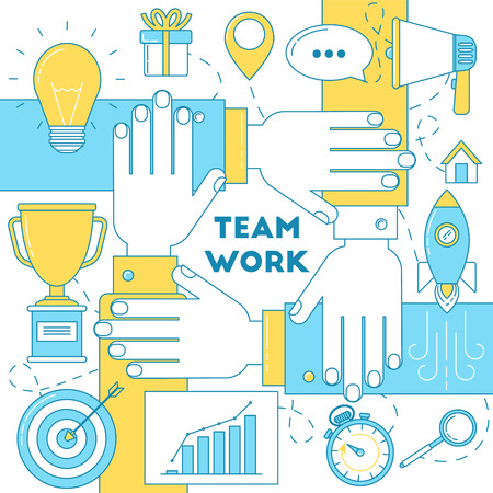 line work: Team work with hands line illustration. idea, launching startup, advertising, research and trophy.