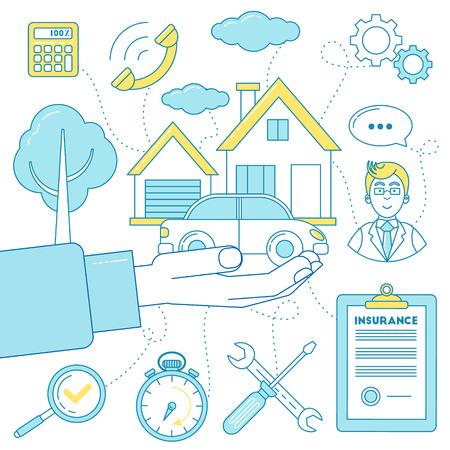 casa de propiedad propiedad y las tecnologías de coches de diseño de la ilustración de la línea