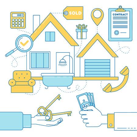 house exchange: Line design illustration of buying a house, realtor and costumer exchange money for keys. Illustration