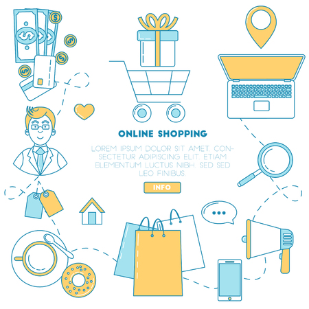 Online shopping banner. Cart with present, delivery, search, advertisement and consultancy Illustration