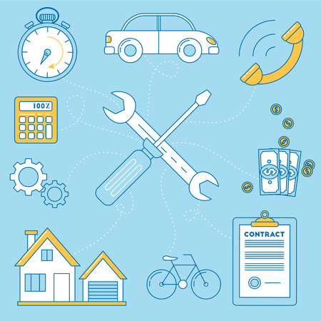 Wrench and screw driver illustration. Repair of house, car and bike, contract for work. budgeting and timing, call for a work.