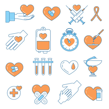 charity work: Blood donation line design colorful icons. Charity, volunteering work and community development awareness month