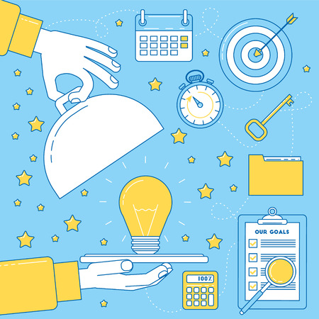 Great idea metaphor, light bulb served on a dish tray. Business concept, practice solution Illustration