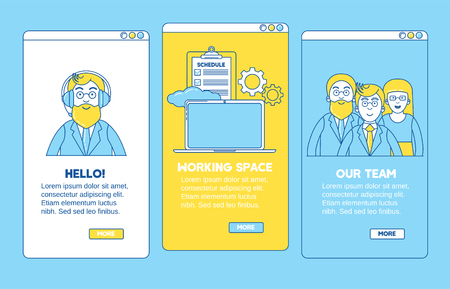 Onboarding application line design. Introducing, meeting with a team, new working space. Illustration