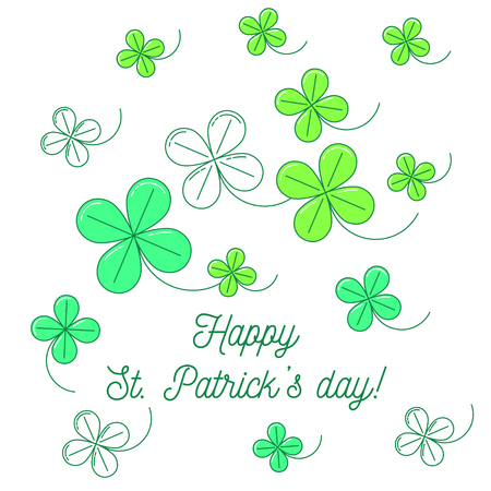 Clover background with text Happy St. Patricks day. Simple line design illustration.