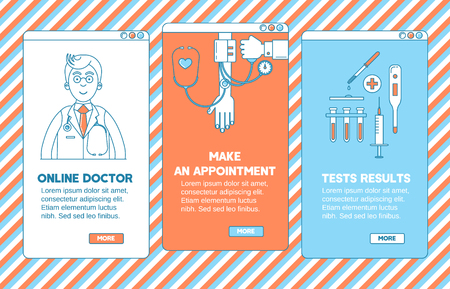 appointment: Medical app design. Online doctor, make an appointment  and test results. Illustration
