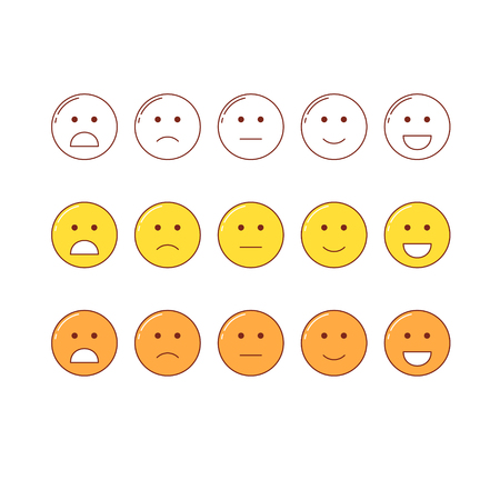 Feedback emoticon scale. Line design positive and negative emotions