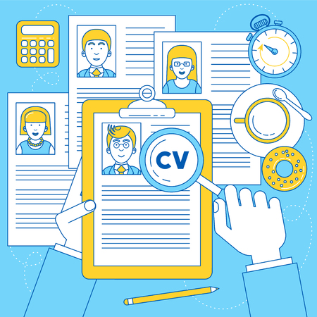 Human resources manager is doing research on CV and resume of applicants