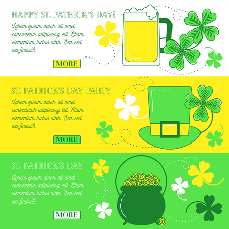 Web banners with clover, hat, beer and cauldron with gold. Happy St. Patricks day and party text