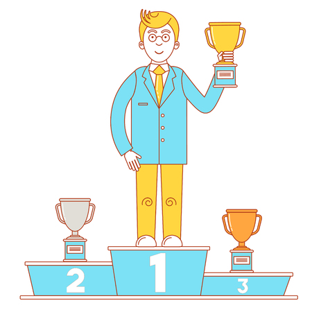 Winners podium with businessman who holds gold cup, silver and bronze trophy. Line art illustration. Illustration