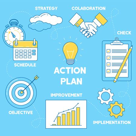 Action plan illustration. Line design strategy, collaboration, implementation and improvement
