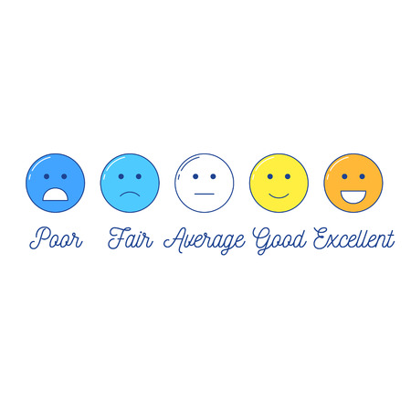 Feedback emoticon scale. Line design positive and negative emotions with text Illustration