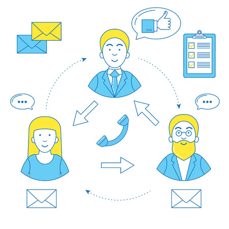 People line design with icon. Business relationship and hierarchy Illustration