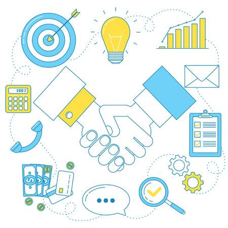 Partnership business illustration. Handshake line icon, good deal concept, successful negotiations