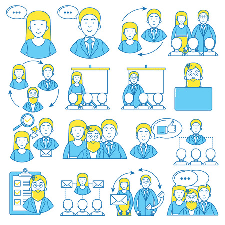 People icon set. Business meetings, negotiations and connections