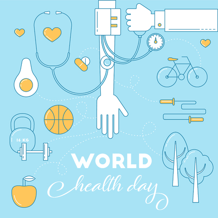 World health day awareness banner. Health life concept