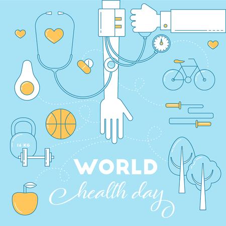 air awareness: World health day awareness banner. Health life concept