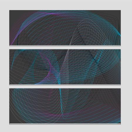 Digital wave, sound equalizer, vector abstract set of banners on black tile Illustration