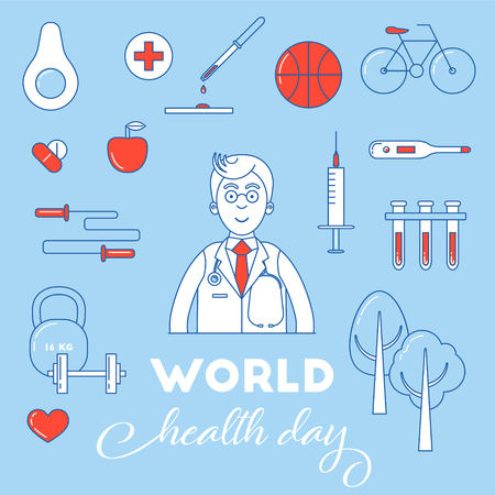 air awareness: World health day awareness banner. Health life concept with doctor