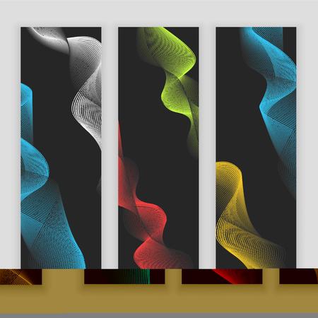 Digital wave, sound equalizer, vector colorful abstract set of banners on black background Illustration