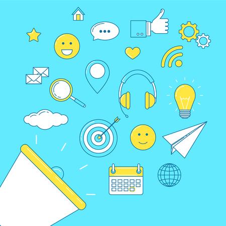 Digital marketing concept with social media marketing line design and loudspeaker Illustration