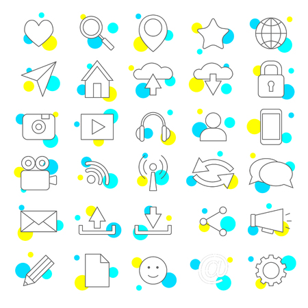 Social media icons, sharing, location, security and favorites
