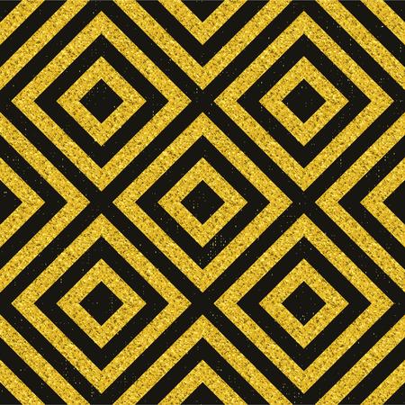 Golden pattern, geometrical glitter texture on black tile and shabby background