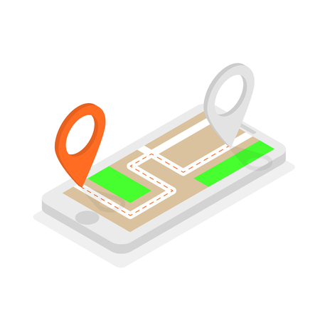 Isometric phone with location pins, route planning, urban map Illustration