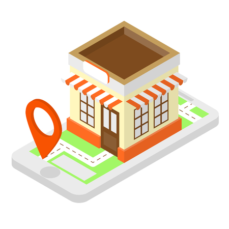 Shop isometric illustration with cell phone, shop and location pin on the screen